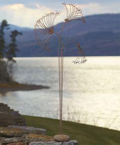 Look at this #zulilyfind! Steel Papyrus & Stone Base Garden Décor #zulilyfinds
