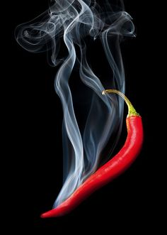 Red hot chili pepper with smoke, on black background , Shadow Photography, Surrealism Photography, Food Photography, Mexican Artwork, Food Menu Design, Hottest Chili Pepper, Fruit Painting, Red Chili, Stuffed Hot Peppers