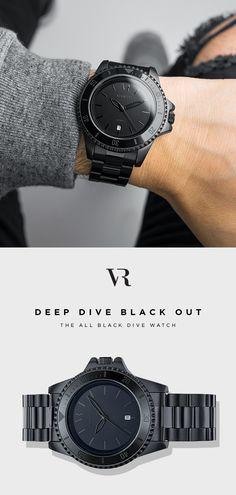 The Deep Dive Blackout. All black dive watch for men. Matte black finish.