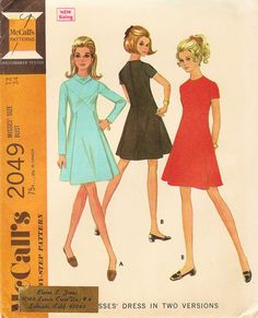 Vintage Sewing Pattern - 1969 Misses Dress in Two Versions, McCall's 2049 Size 12 Bust 34. $6,50, via Etsy.