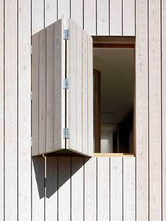 Larch - White stained larch cladding - Hampstead Beach house by Hayhurst and Co. Larch Cladding, House Cladding, Exterior Cladding, Wooden Window Shutters, Wooden Windows, Windows And Doors, Detail Architecture, Wood Facade, Window Detail