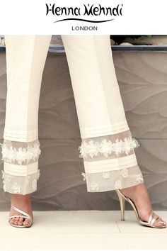Best 12 Designer Indian & Pakistani White Embellished Trousers available in Salwar Trousers, Embroidered Trousers and Bootcut trousers. Designed in London UK. Salwar Designs, Dress Designs, Fashion Pants, Fashion Outfits, Womens Fashion, Workwear Fashion, Designer Wear, Designer Dresses, Mode Bcbg