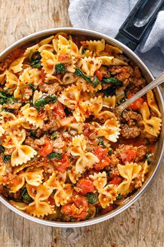 Sausage Pasta Recipes, Easy Pasta Recipes, Beef Recipes, Recipe Pasta, Spinach Sausage Pasta, Healthy Sausage Recipes, Recipes With Sausage Ground, Pasta With Sausage, Delicious Pasta Recipes