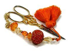 Scissor Fob, Cross Stitch, Needlepoint ,Sewing, Quilting, Gift, Orange, Beaded, DIY Crafts