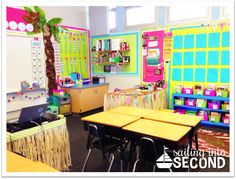 Sailing into Second — beach themed classroom using Creative Teaching Press Goodies!