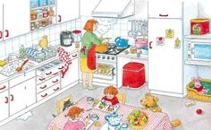 In der Küche. Dagmar Stam www. Spanish Classroom, Teaching Spanish, Speech Language Therapy, Speech And Language, Dora, Picture Writing Prompts, Hidden Pictures, How To Speak Spanish, English Lessons
