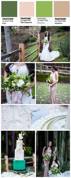 This wedding color theme of Pantone colors Kale, Pale Dogwood, Greenery, and Hazelnut. They make a fabulous look for a gorgeous romantic wedding in the woods. Photography by destination wedding photographer Jen Vazquez Photography - Pizza Time Wedding Advice, Wedding Themes, Wedding Vendors, Wedding Designs, Themed Weddings, Wedding Ideas, Romantic Wedding Colors, Romantic Weddings, Woodsy Wedding