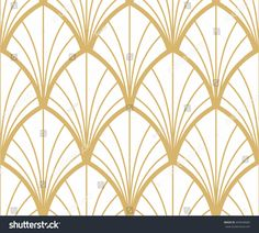 Golden seamless ornament in Art Nouveau style on white background