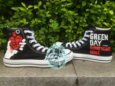 734d5c4b13d6c Black Converse All Star Hand Painted Green Day by paintingzone