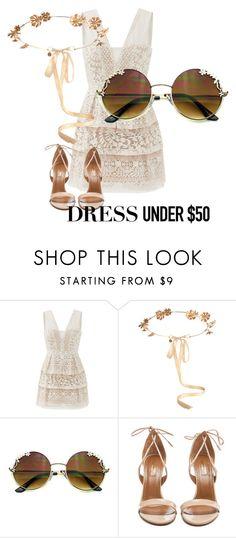 """Dress under $50"" by sosofo ❤ liked on Polyvore featuring BCBGMAXAZRIA, Eugenia Kim, Aquazzura, cute, contestentry and Dressunder50"