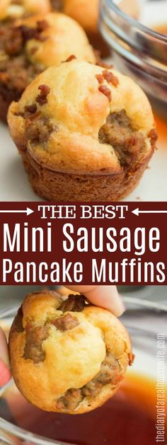 These Mini Sausage Pancake Muffins make the perfect easy breakfast recipe. These Mini Sausage Pancake Muffins make the perfect easy breakfast recipe. Brunch Recipes These Mini Sausage Pancake Muffins make the perfect. Mini Muffins, Pancake Muffins, Breakfast Pancakes, Breakfast Bake, Sausage Breakfast, Breakfast Dishes, Best Breakfast, Breakfast Recipes, Muffin Recipes