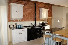 Kitchen:Simple Minimalist Kitchen With Exposed Brick Wall And White Wall Storage Exposed Brick Wall Kitchen for Rustic Looking Kitchen