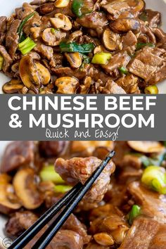 In this Takeout Style Chinese Beef and Mushrooms Stir Fry, the beef is cooked together with plenty of mushrooms, green onions and a delicious savory brown Chinese sauce. This takeaway style Chinese re Wok Recipes, Asian Recipes, Chicken Recipes, Cooking Recipes, Frying Steak Recipes, Venison Stir Fry Recipe, Stir Fried Rice Recipe, Beef Fried Rice, Recipies