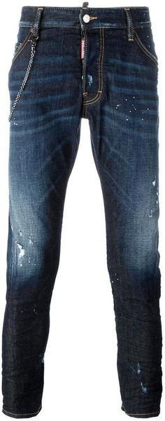 Dsquared2 Classic Kenny Twist chain trim jeans Distressed Jeans, Dsquared2, Chain, Stylish, Classic, Pants, Men, Shopping, Tops