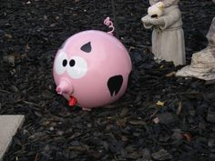 Eunice the pig made from a bowling ball metal snout