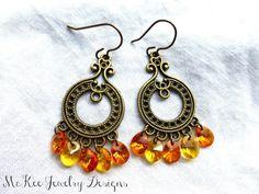 Orange, yellow and bronze, Swarovski crystal chandelier dangle earrings.