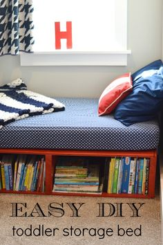 Check out this EASY DIY storage bed - it fits a toddler mattress and is great for a tiny space.