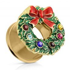 FreshTrends Cubic Zirconia Christmas Wreath Gold-Tone Anodized Steel Double Flared Plug   FreshTrends Body Jewelry
