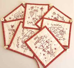 small Christmas embroidered pieces