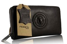 f25f9b2f1e6 echt leder dames portemonnee donker bruin 3D leeuw door Fereti