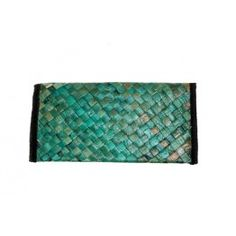 Aqua Green Cross Stitched Cane Wallet