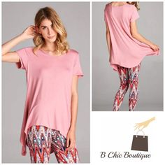 Dusty Pink Essential Tunic Beautiful dust pink tunic with tapered hi/low hem for excellent coverage. Made of soft rayon and spandex blend. Perfect to pair with leggings also available in my closet. Available in S, M, L, XL Bchic Tops Tunics