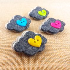 Felt Cloud Pin Badge  Every Cloud has a Silver by madebylolly