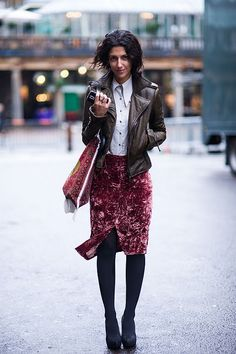 Brown Leather Jacket / Pencil Skirt / Black Tights