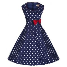 """VINTAGE+FIFTIES+STYLE+SWING+DRESS+WITH+A+SWAN+PRINT+BY+LINDY+BOP.    FULLY+LINED  BOW+AT+WAIST  •PIPING+TO+ARMHOLES+AND+NECKLINE.+  •HIDDEN+BACK+ZIP+FASTENING.    SIZE+8.+TO+FIT+APPROXIMATE+MEASUREMENTS:+BUST-+32"""".+WAIST-+26"""".+TOTAL+LENGTH-+36"""".    SIZE+10.+TO+FIT+APPROXIMATE+MEASUREMENTS:+BUST-+..."""