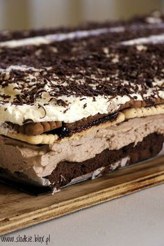 Polish Desserts, Polish Recipes, Coconut Brownies, Chocolate Garnishes, Cake Recipes, Food And Drink, Yummy Food, Sweets, Cooking