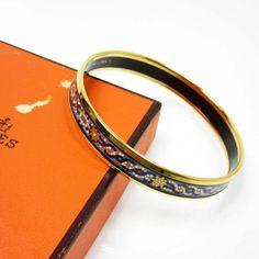 Hermes Cloisonne And Gold Plated Bangle Bracelet
