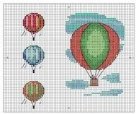 hot air balloon cross stitch--image only