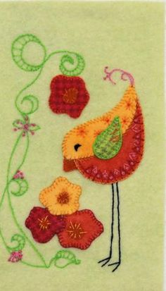 felted wool crafts Felted wool applique pattern of this bird in the flowers finishes to x hanging, suitable for all skill levels from beginner to advanced. Embellish and embro Wool Applique Patterns, Applique Design, Felt Applique, Embroidery Patterns, Applique Ideas, Sewing Appliques, Felt Patterns, Bird Patterns, Japanese Embroidery