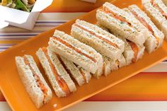 Smoked salmon and herb cream cheese finger Sandwiches