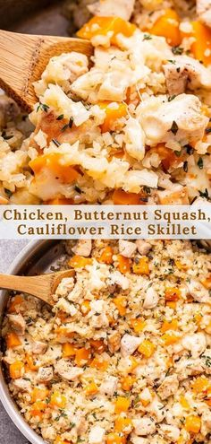 Cheesy Chicken, Butternut Squash and Cauliflower Rice Skillet is an easy one pan dinner that's perfect for weeknights! Simple ingredients, but tons of flavor thanks to the fresh herbs, creamy fontina and salty Pecorino Romano cheese. #chickenrecipes #butternutsquash #cauliflowerrice #cauliflower #lowcarb #onepanmeal #skilletrecipes #easyrecipes #healthydinner