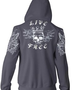 Tattoo letters and light stitching designs can make a sweet hoodie for anyone.