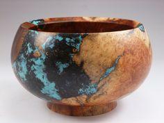 Wooden Bowl - Manzanita burl wood Bowl with Turquoise, Lapis and Chrysocolla stone Inlay