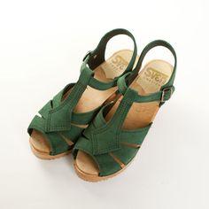 green t-bar clogs // sven