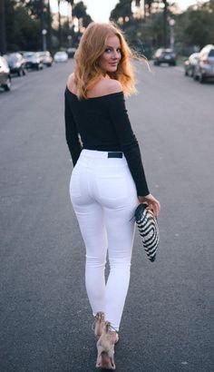 Superenge Jeans, Jeans With Heels, Sexy Jeans, Beste Jeans, Mode Rock, Looks Pinterest, Wide Leg Denim, White Skinny Jeans, Girls Jeans