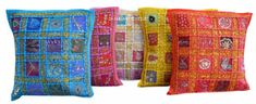This is a Cotton Fabric Hand Stitched Patch Work Zari Cushion Cover. - Pillow insert is not included. - Multi Color Pieces of fabric are used to develop the Patchwork pattern. Patchwork Cushion, Patchwork Patterns, Print Patterns, Decorative Cushions, Decorative Items, Cushion Covers, Pillow Covers, Ethnic Decor, Handmade Home Decor