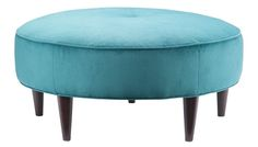 Beautiful  Blue Round Ottoman. This would sell very easily. The batting and foam may be a expensive though.