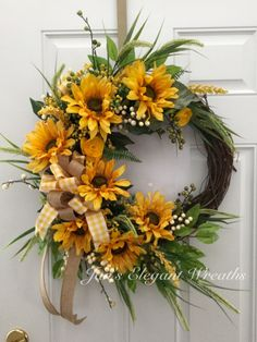 A personal favorite from my Etsy shop https://www.etsy.com/listing/275600440/sunflower-wreath-summer-wreath