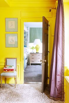 6 Ideas For Decorating a One-Bedroom // yellow, curtains, leopard rug