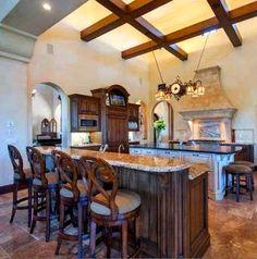 tuscan kitchen. lovelovelove the ceiling