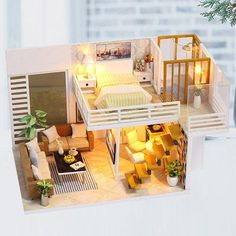 2 Storey Modern DIY Doll House - Furnished Miniature House w / Lights - Wooden Dollhouse Grownup Toy - Dollhouse Furniture Kit - Diy Project- 2 story one doll modern DIY home furnished house Source by blackjackbom - Wooden Dollhouse Kits, Dollhouse Furniture Kits, Diy Dollhouse, Miniature Dollhouse, Miniature Furniture, Layouts Casa, House Layouts, Wooden House, Tiny House Design