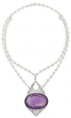 This Belle Époque diamond and amethyst cameo necklace is both bold and delicately lovely at the…: