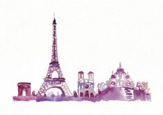 Watercolor Travel Illustration Eiffel Tower Paris by bijuterra, $29.00