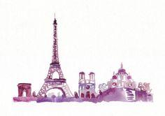 Watercolor Travel Illustration Eiffel Tower Paris by bijuterra, $29.00