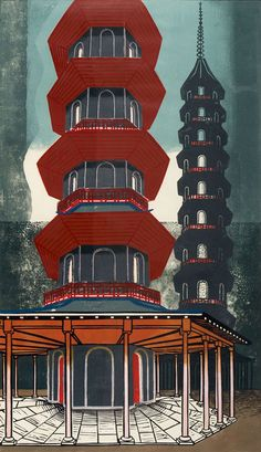 'The Pagoda at Kew' by Edward Bawden, 1963 (linocut). Colour linocut (1963). The Pagoda in Kew Gardens, London, was designed by William Chambers and built in 1761 – when Chinoiserie as an aesthetic was at its height. Both the Pagoda and Kew Gardens were amongst Bawden's favourite places, and his work very often incorporates imagery derived from these visits.