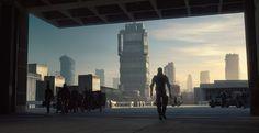"Dredd Concept Art by Neil Miller - ""Mega City from Peach Trees as Dredd Exits"""